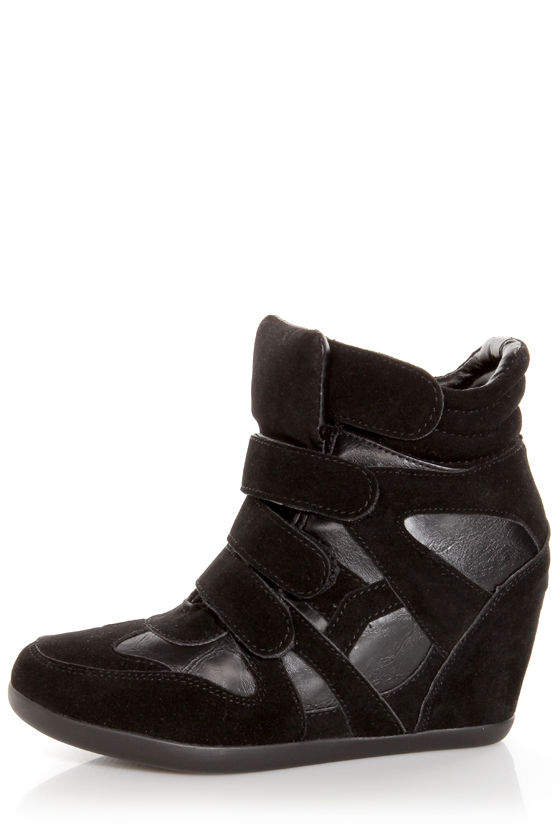 Wild Diva Lounge Bubble 04A Black Wedge Sneakers