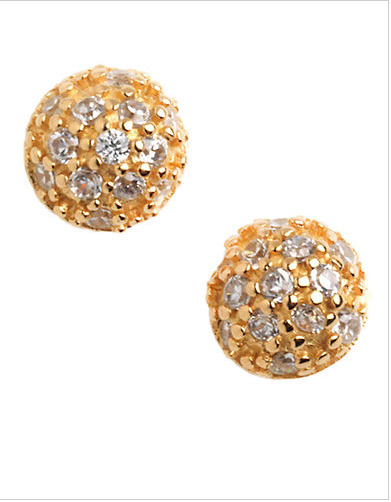 LORD & TAYLOR 18 Kt Gold Plated Pave Ball Stud Earrings