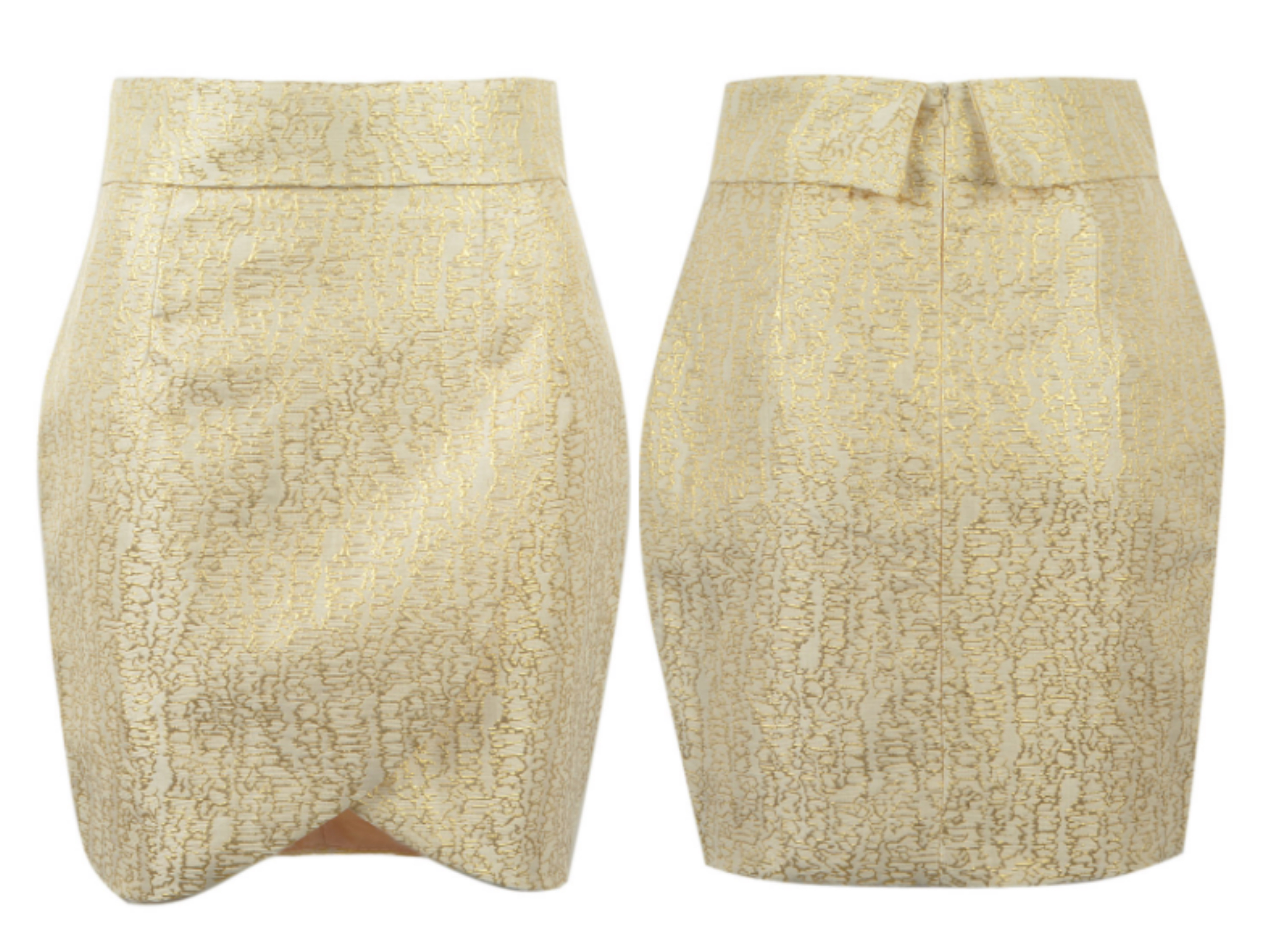Beige Gold Foil Print Wrap Asymmetric Pencil Skirt